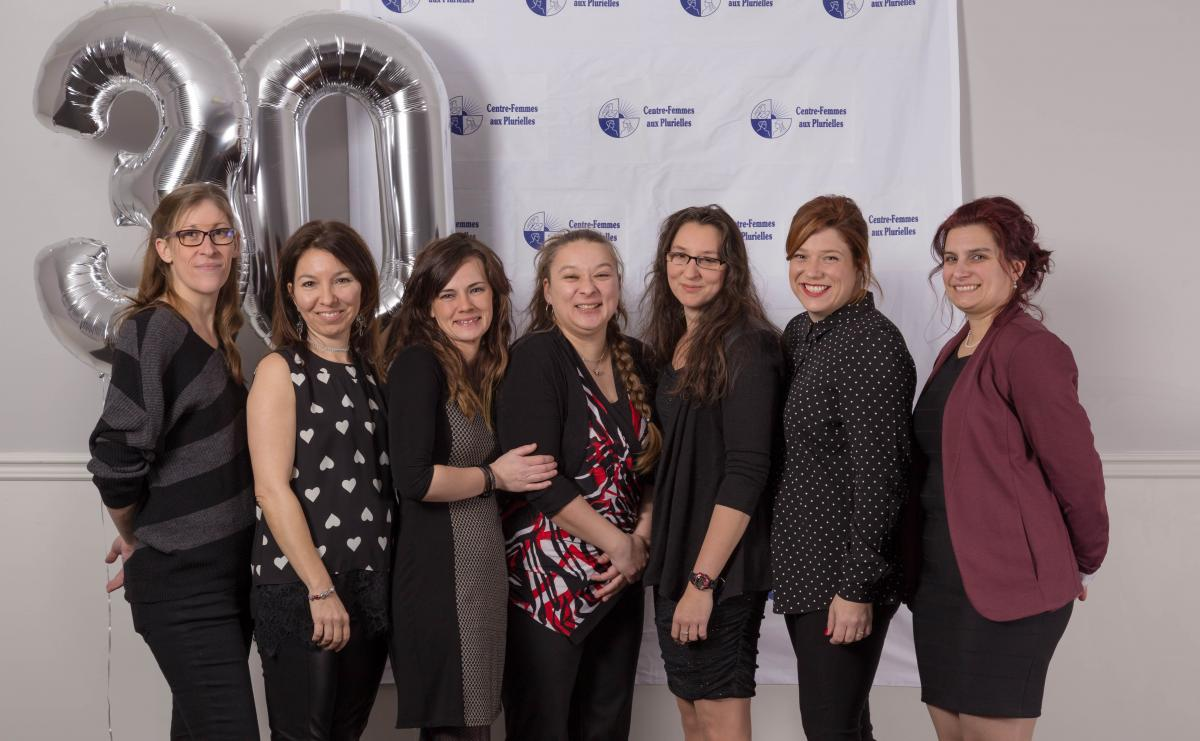 Équipe de travailleuses du Centre-Femmes aux Plurielles: Audrey, Cathy, Marianne, Nadia, Annie, Alexandra et Marie-Claude